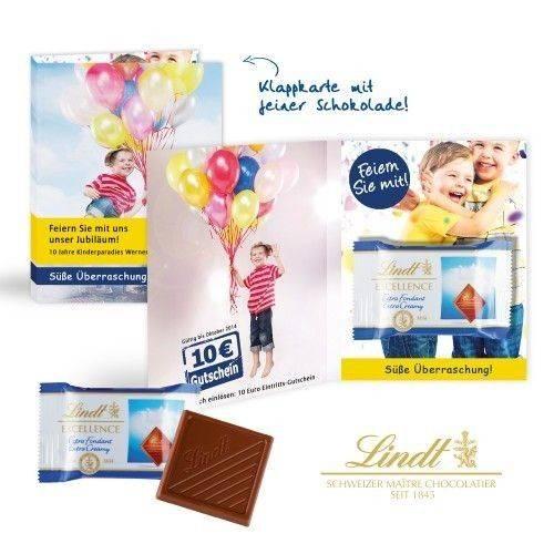 """Doppelkarte mit Schokotäfelchen von Lindt """"Excellence"""""""
