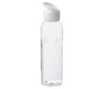 Klare Wasserflasche mit weißen Deckel.