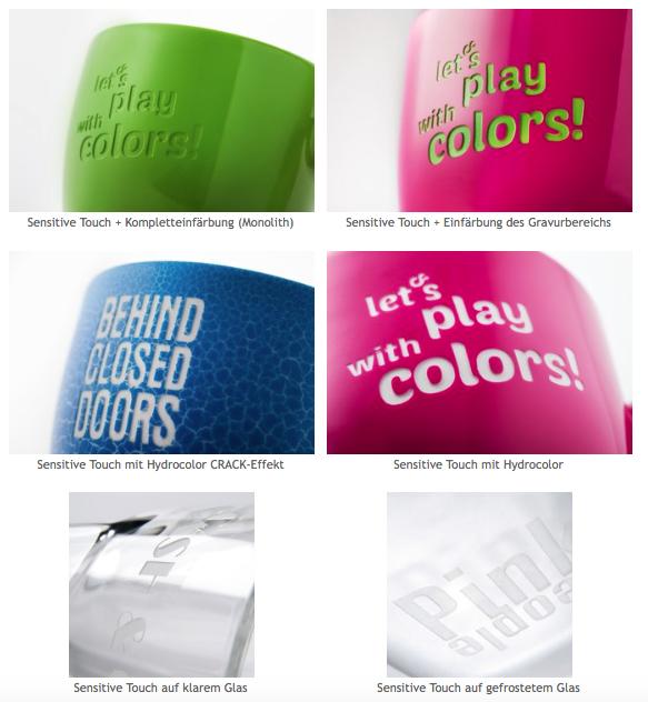 Sensitive Touch Werbetassen Druckart Beispiele
