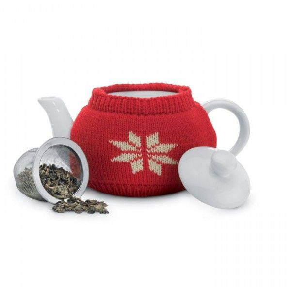 ESPOO Keramik-Teekanne 280ml mit rotem Strickpullover Unbedruckt
