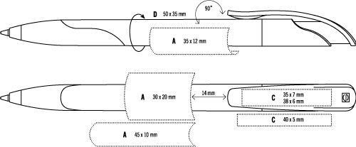 Druckoptionen für den Kugelschreiber Senator Challenger Soft Clear